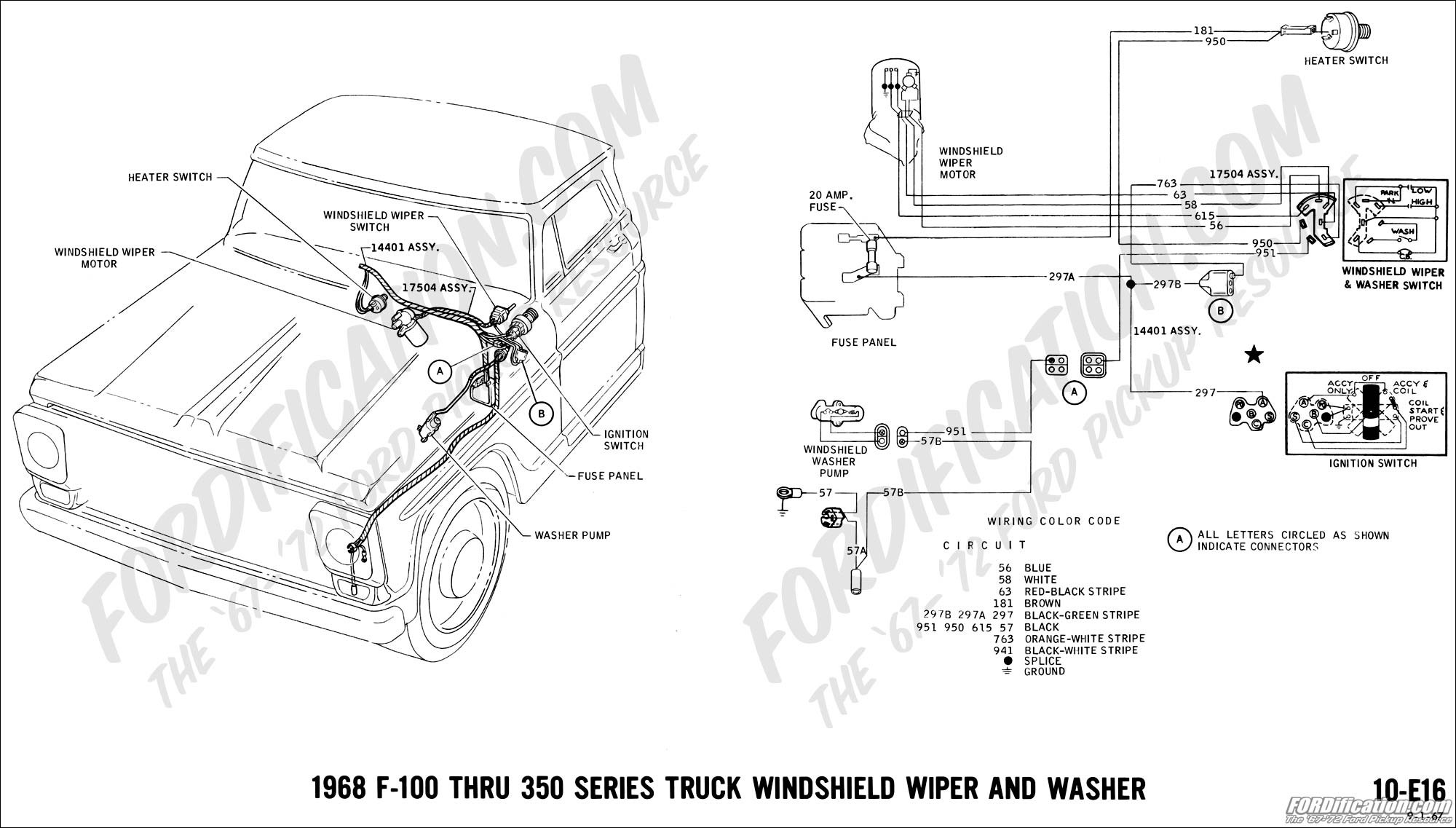 1968 ford f100 wiper switch wiring diagram
