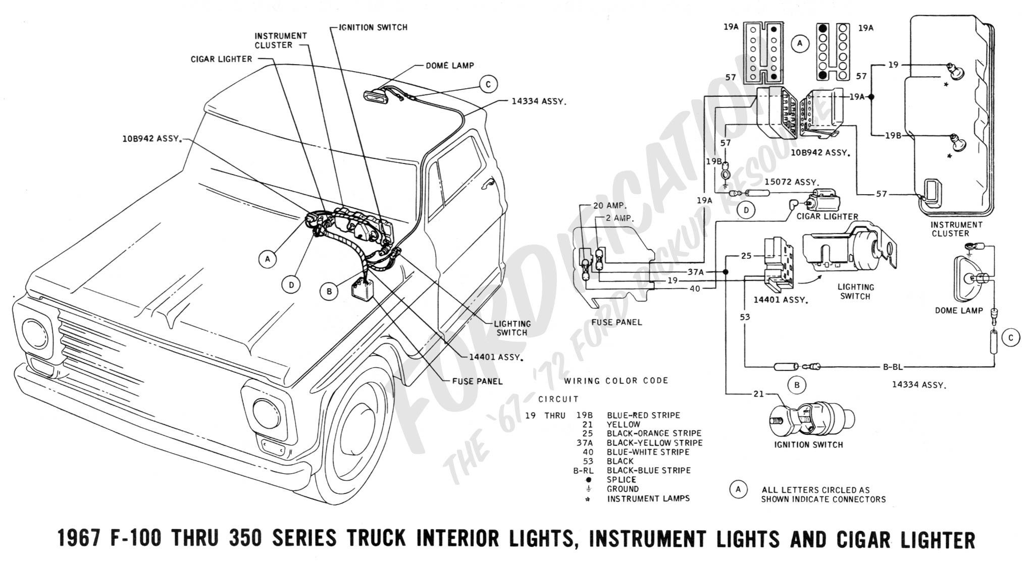 1967 Ford Truck F 250 Courtesy Light Wiring Diagram