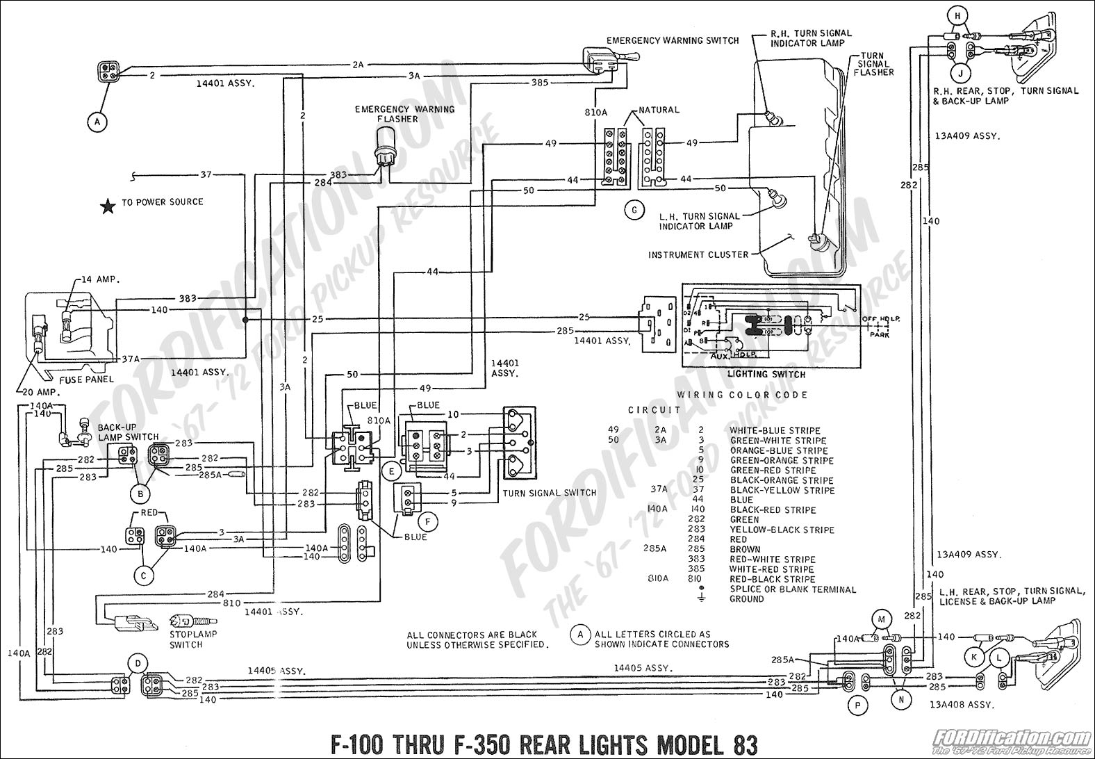 wiring_69rearlights mdl83 2 1977 ford f100 alternator wiring diagram wiring diagram and 1969 Ford F100 Steering Column Wiring Diagram at gsmportal.co